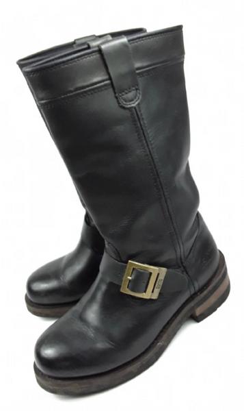 Original Daffo true vintage womens leather biker boots UK 6