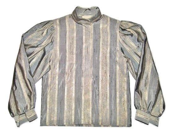 true vintage princess Di style womens silk ruffle blouse size 10
