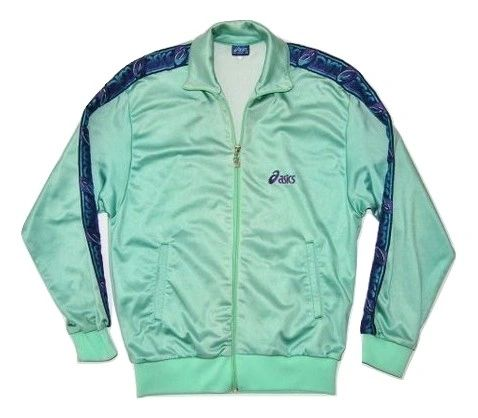 womens true vintage asics tracksuit top early 90's size uk S-M