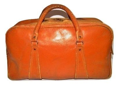 1970's original tan leather doctors holdall