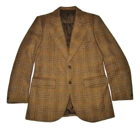 true vintage mens checked blazer suit jacket S-M
