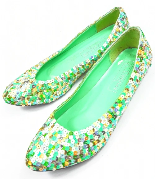 womens retro glitter flat slip on dolly pumps size uk 3