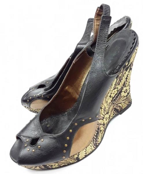 womens shoes retro wedges size uk 5 Faith black italian leather