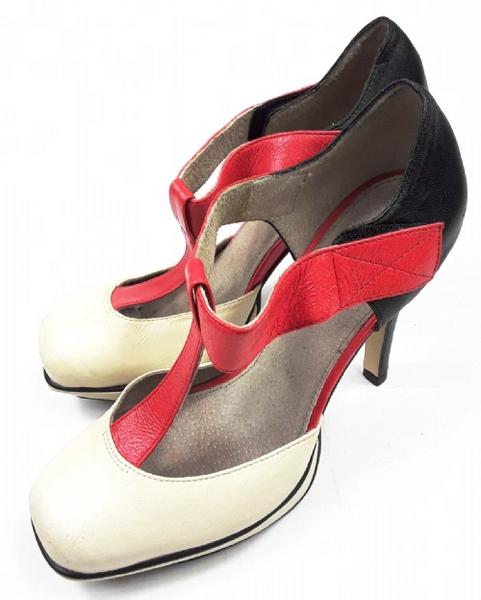 vintage topshop leather heels, size uk 4