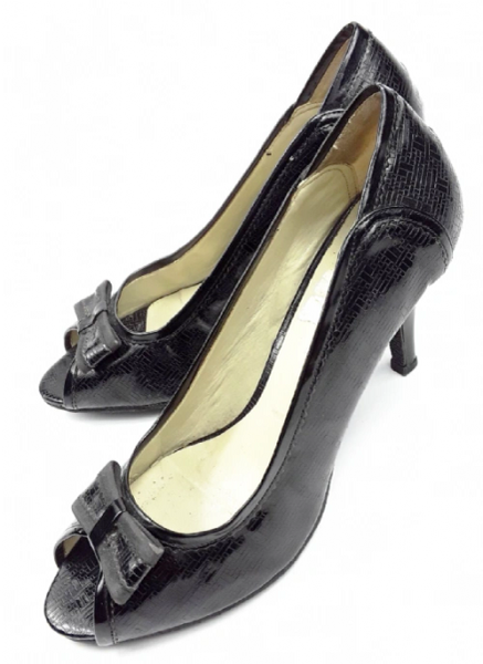 womens true vintage peep toe patent high heel shoes, size uk 5