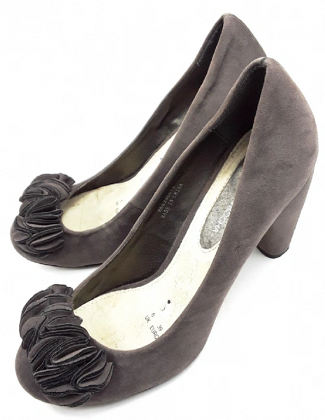 womens retro Rocha John heels, grey suede size uk 6
