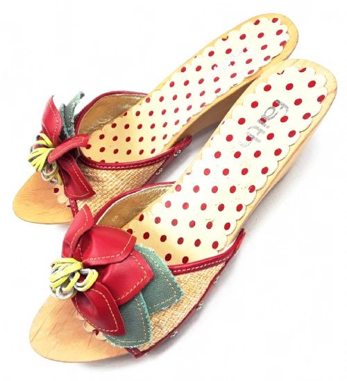 retro slingback mules size uk 4 wooden wedge heels