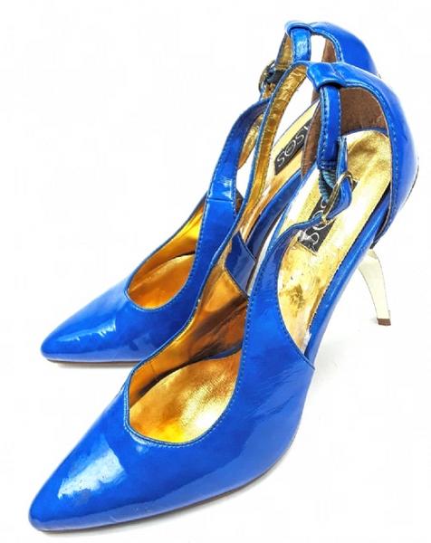 womens retro shoes blue patent high heels size uk 6