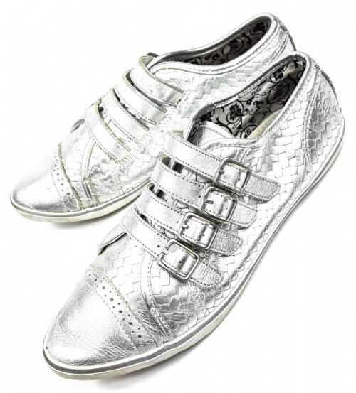 womens vintage silver leather buckle flat shoes size uk 4