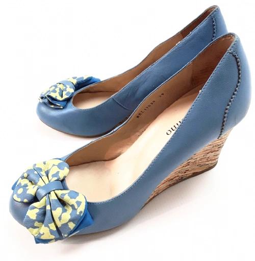 Quality soft Italian leather wedge heels UK 6