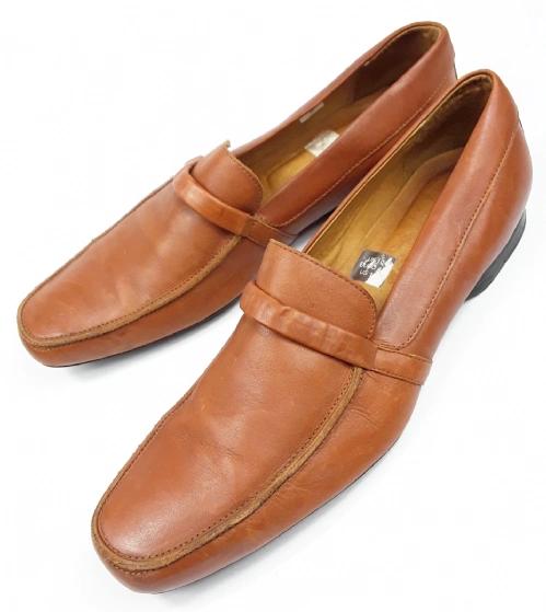 mens soft brown leather vintage loafers
