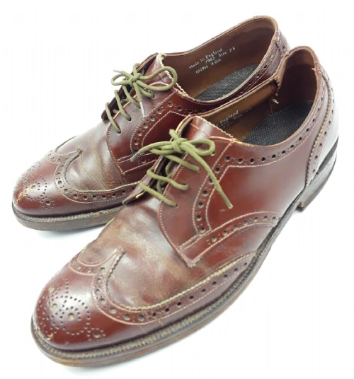 true vintage brown leather brogues size uk 7.5 made in england