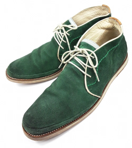 mens vintage green suede northen soul mod shoes size uk 9.5