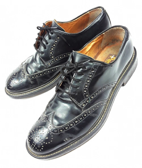 mens true vintage black brogues size uk 8.5 late 80's skins mod