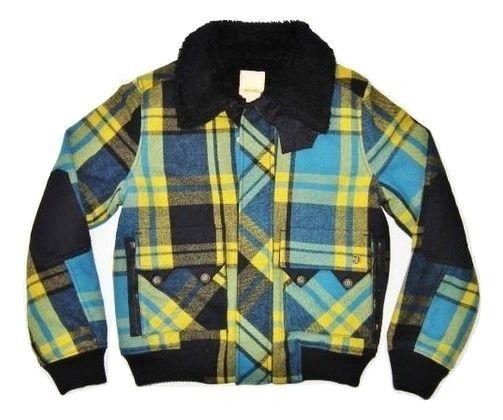 mens retro trucker jacket checked wool diesel size medium