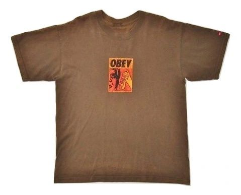 original vintage obey tshirt army brown size M-L