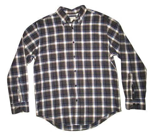 mens quality vintage checked grey shirt size M