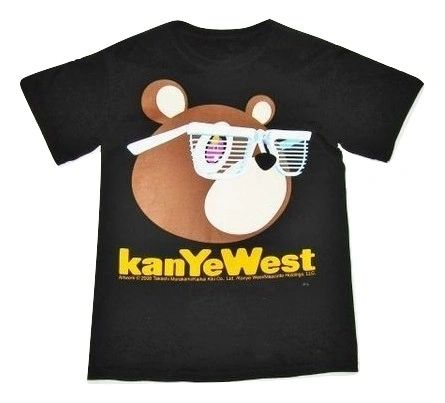 2008 retro kayne west cartoon print tshirt size small