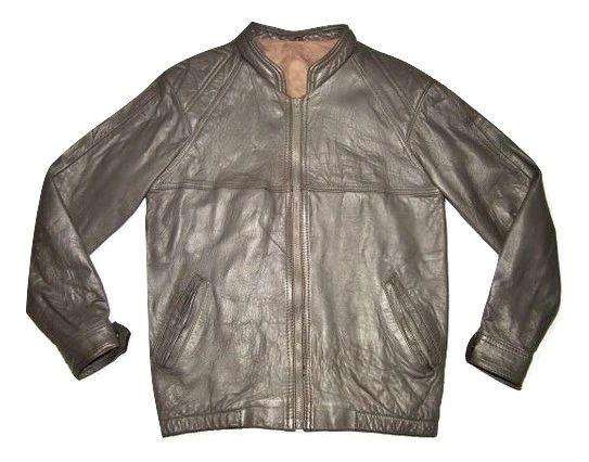1980's vintage grey leather bomber jacket size medium