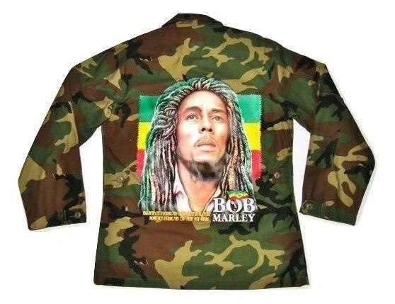 vintage army jacket with bob marley print size M-L