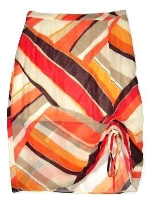 quality gianfranco retro pattern chiffon pencil skirt size 12