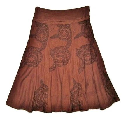 retro print brown stitched flower skirt size 10