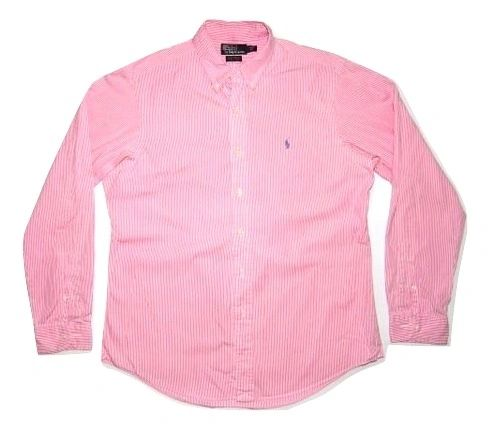 vintage mens office shirt pink pin stripe size large