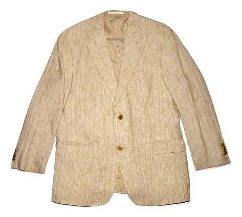 oldskool vintage brown pin stripe mens blazer suit jacket size medium
