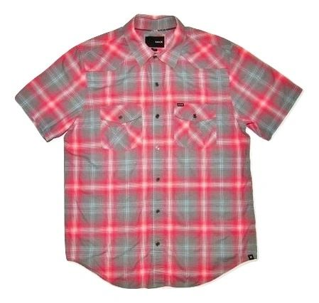 vintage hurley checked short sleeve shirt, size M-L