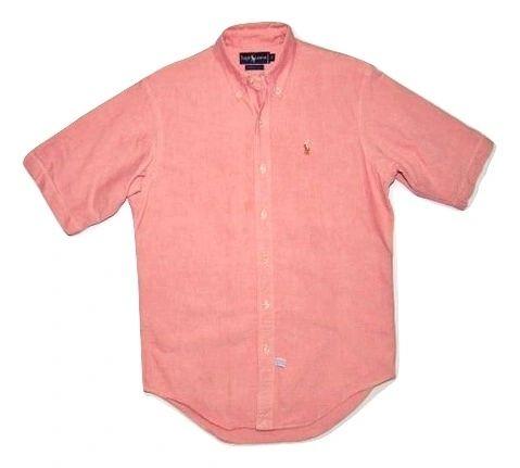 vintage ralph lauren pink short sleeve casual shirt size small