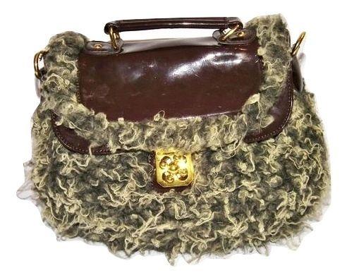 retro fur handbag with shoulder strap