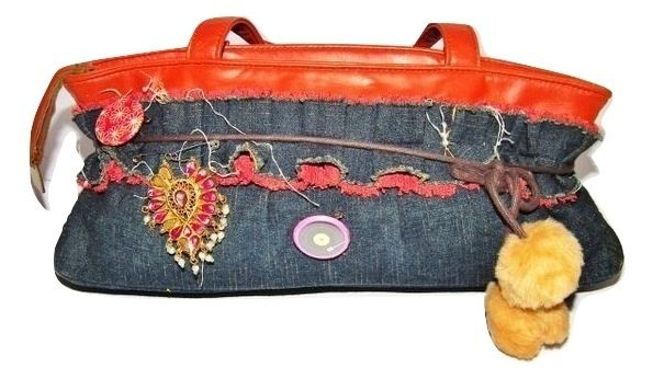womens cute retro leather denim handbag