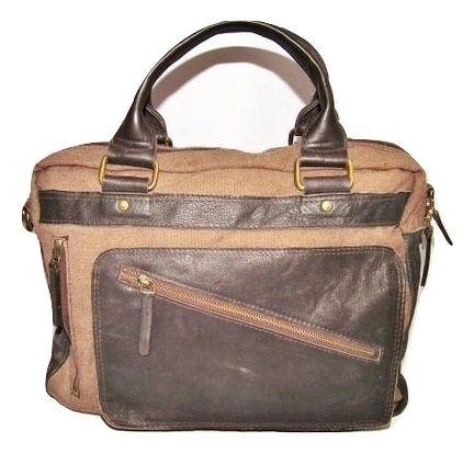 true vintage mens brown leather and wool bag