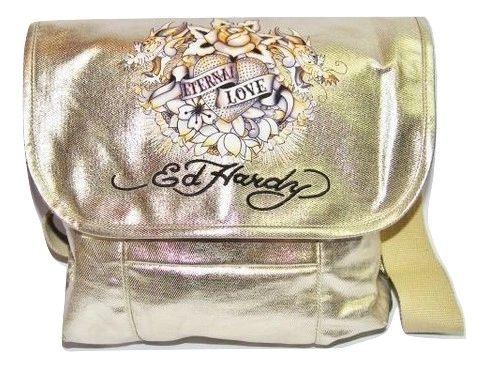 superb retro style ed hardy gold shoulder bag