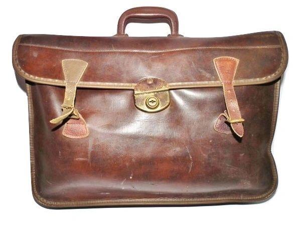 original oldskool brown vintage office satchel
