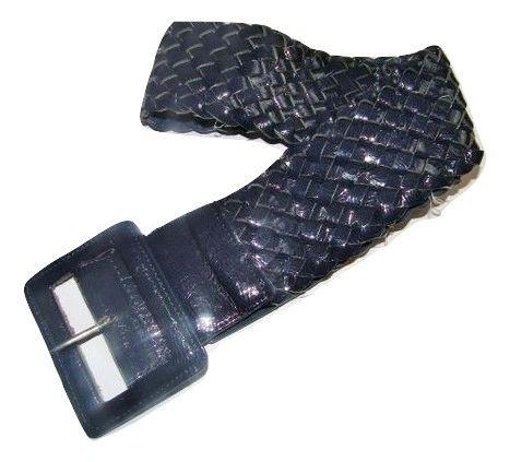 vintage navy blue weave belt large 40inch long