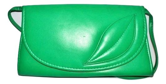 80's true vintage green leather clutch bag