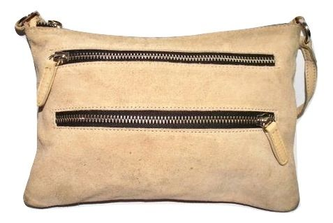 vintage retro style suede zip pouch handbag