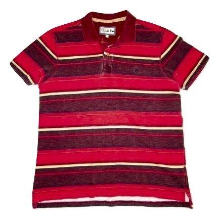 mens vintage stripe heavy cotton polo shirt size large