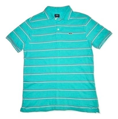 vintage le tigre polo tshirt green stripe size S-M