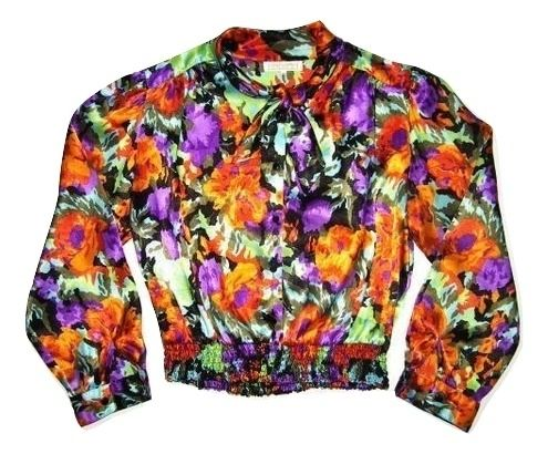 womens 80's vintage flower blouse size 12