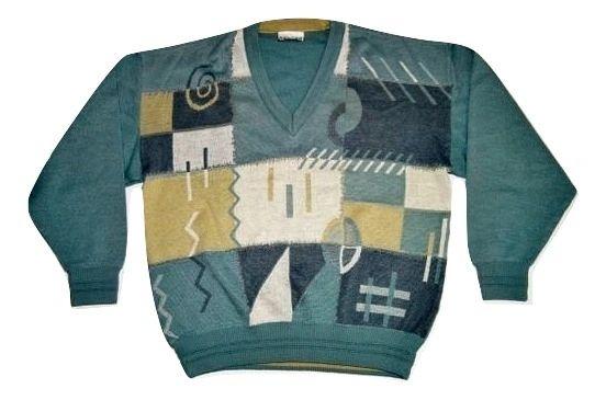 mens vintage v-neck wool jumper size large