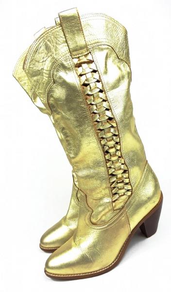 2004 vintage gold leather cowboy boots UK 5