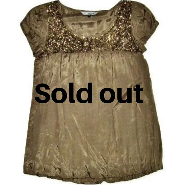womens green sequin blouse size 10
