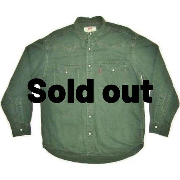true vintage 90's levis green denim shirt size M-L