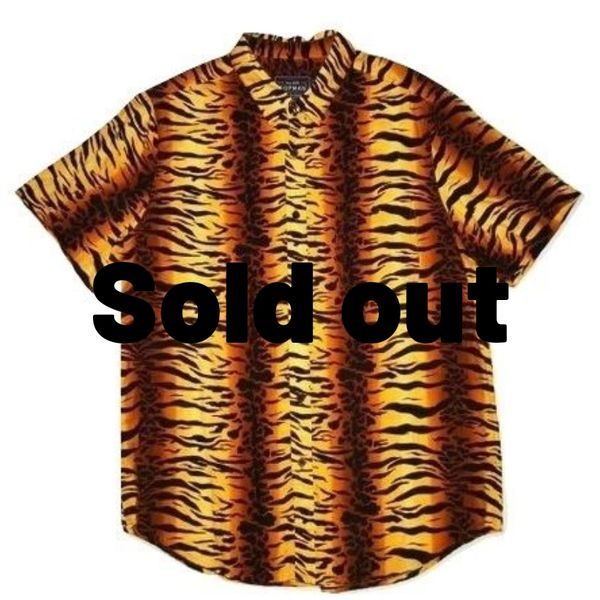 retro tiger print mens short sleeve shirt size L