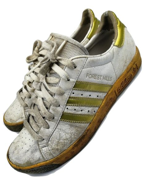 True vintage Adidas Forest Hills Womans trainers gold white size UK 6 issued 2005