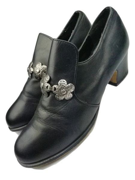 1990's true vintage womens black leather shoes UK 5