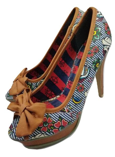 Women's Retro brown peep toe bow heels UK 7