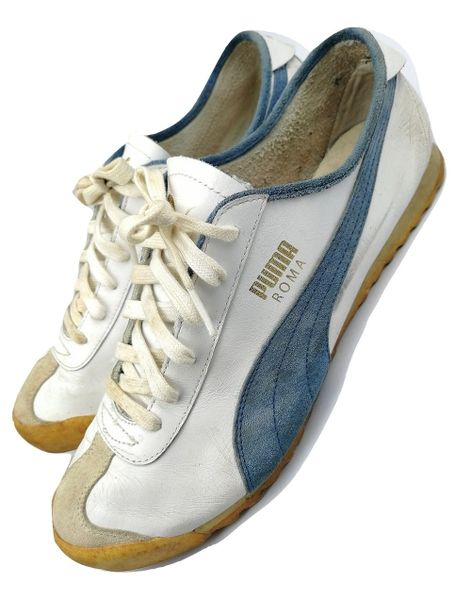 True vintage Puma Roma 2001 white leather Mens trainers size UK 9
